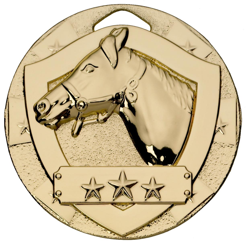 "Gold Mini Shield Equestrian Medal 50mm (2"")"