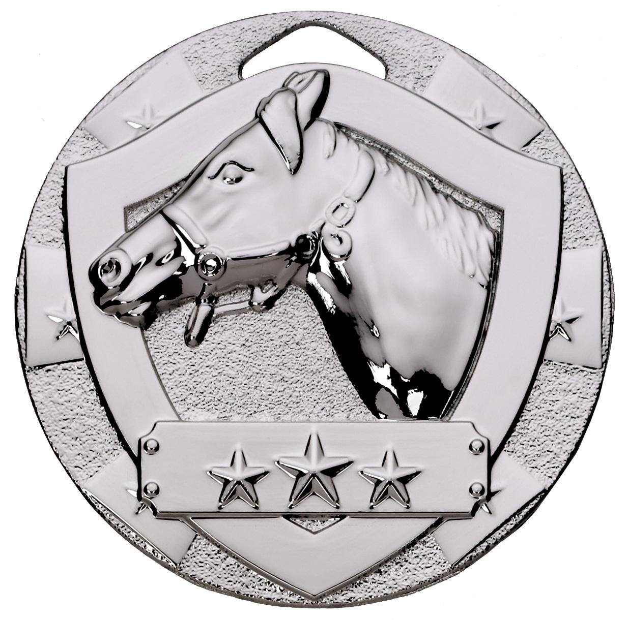 "Silver Mini Shield Equestrian Medal 50mm (2"")"
