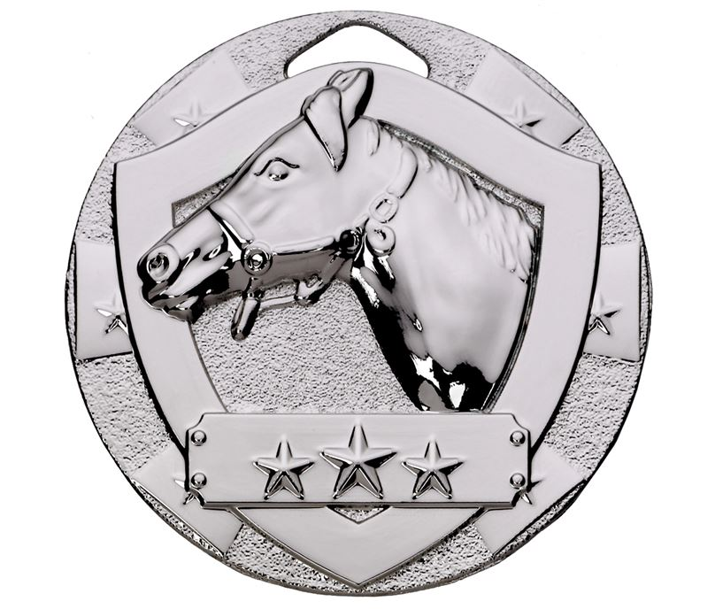 "Silver Mini Shield Equestrian Medal 50mm (2"")"