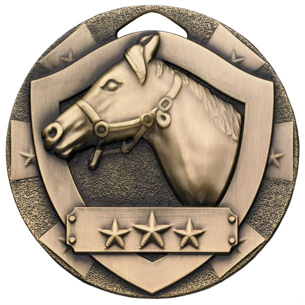 "Bronze Mini Shield Equestrian Medal 50mm (2"")"