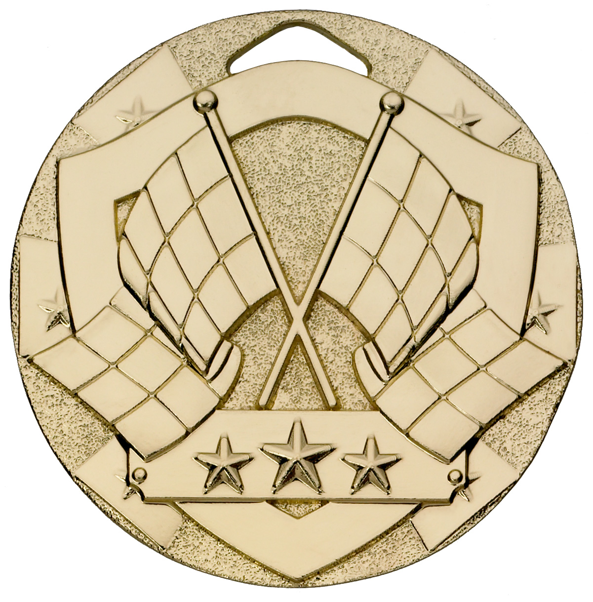 "Gold Mini Shield Flag Medal 50mm (2"")"