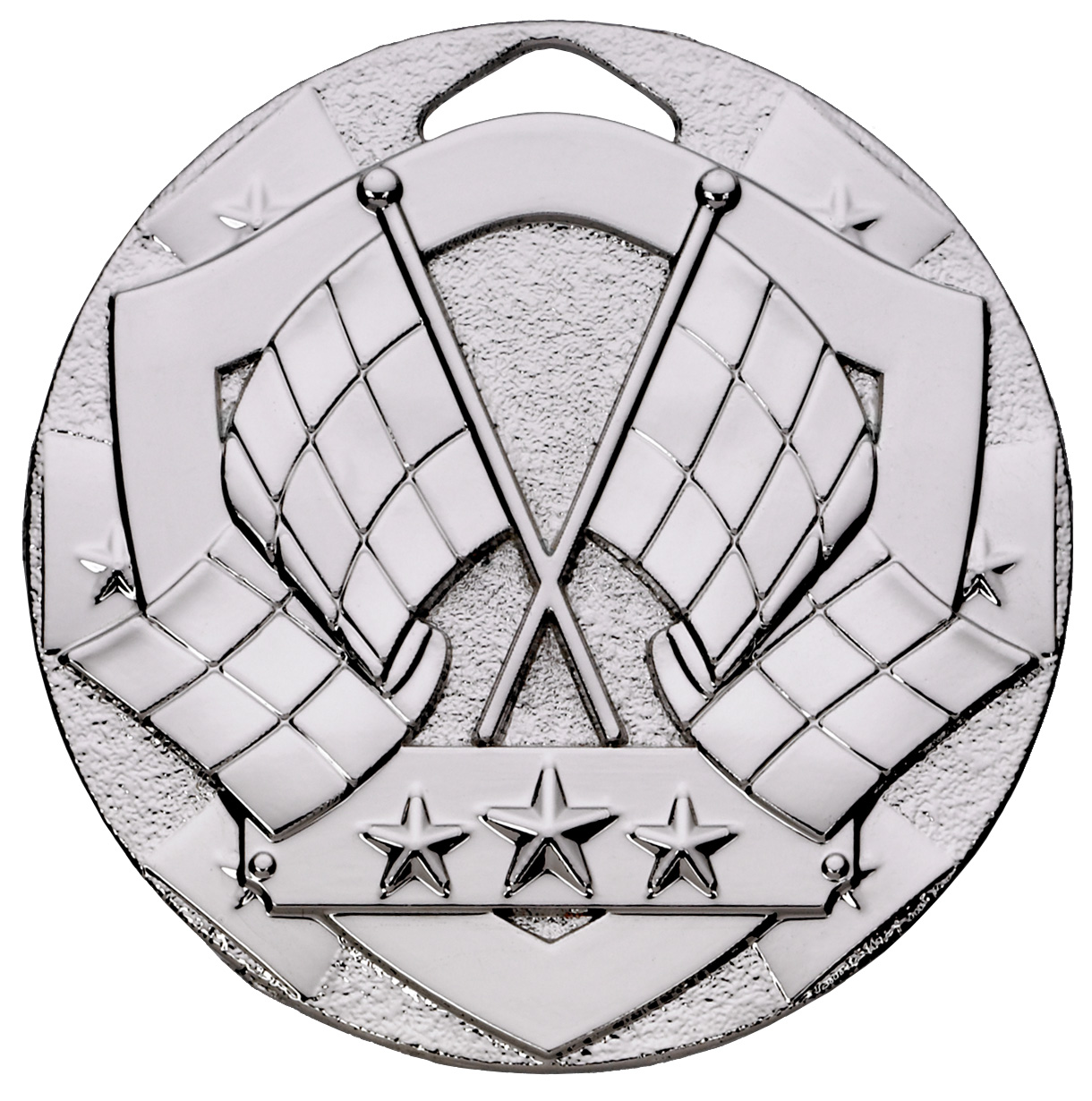 "Silver Mini Shield Flag Medal 50mm (2"")"