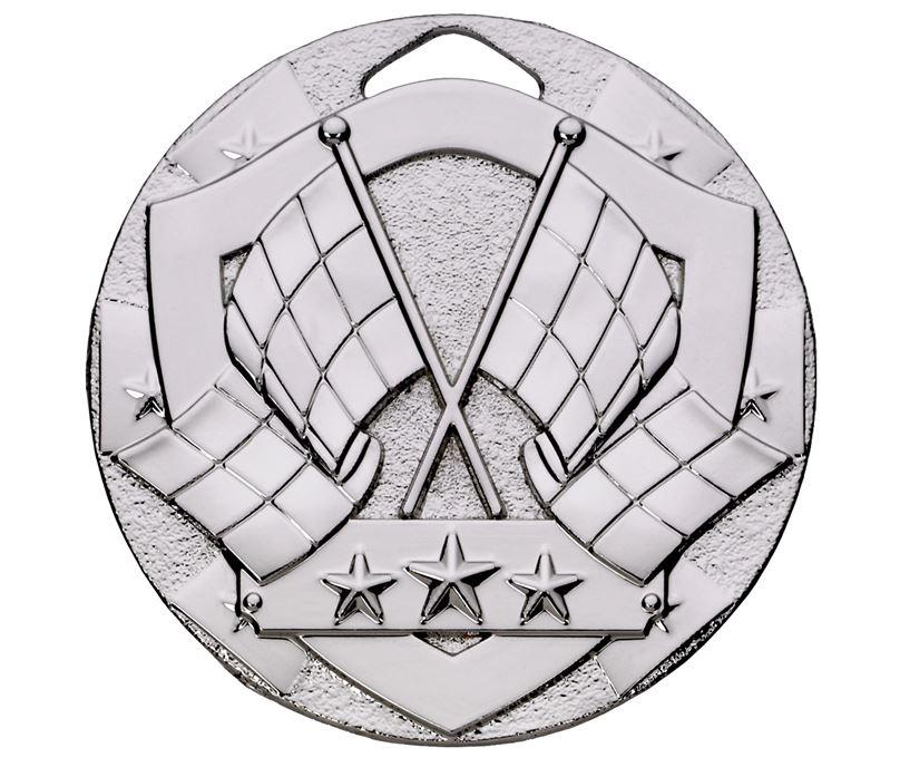 """Silver Mini Shield Flag Medal 50mm (2"""")"""