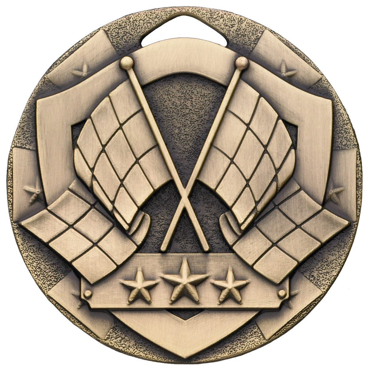 "Bronze Mini Shield Flag Medal 50mm (2"")"
