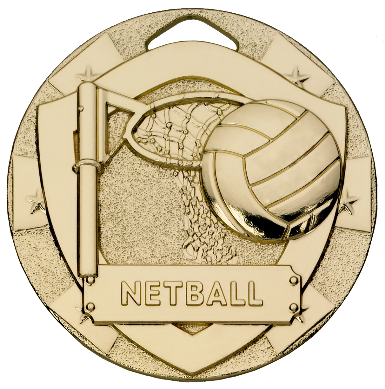 "Gold Mini Shield Netball Medal 50mm (2"")"