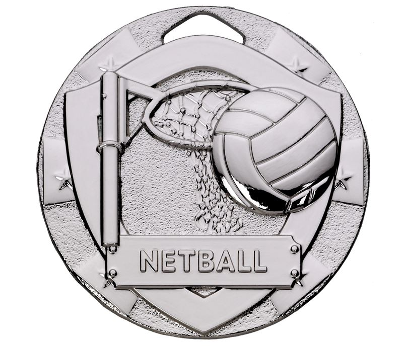 "Silver Mini Shield Netball Medal 50mm (2"")"
