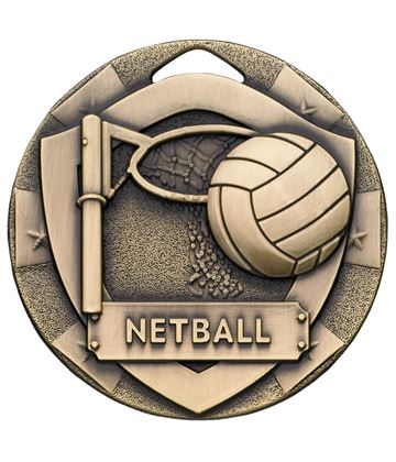 "Bronze Mini Shield Netball Medal 50mm (2"")"