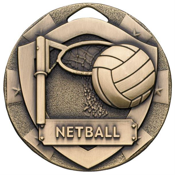 "Bronze Mini Shield Netball Medal 50mm (2"")"