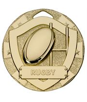 """Gold Mini Shield Rugby Medal 50mm (2"""")"""