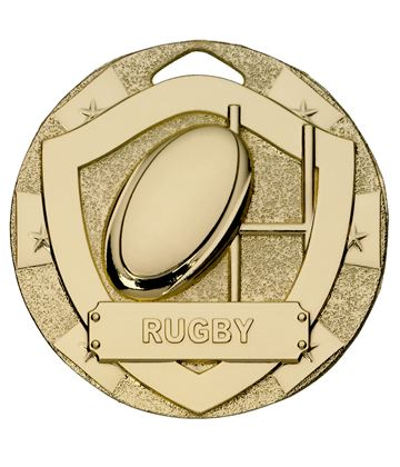 "Gold Mini Shield Rugby Medal 50mm (2"")"