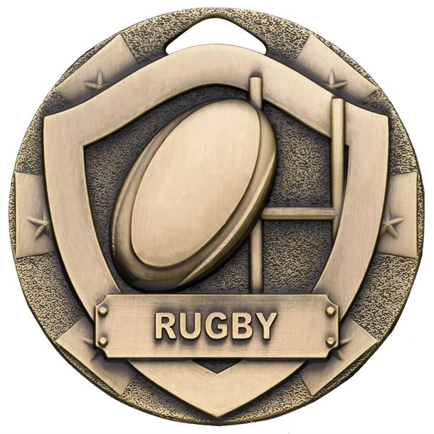 """Bronze Mini Shield Rugby Medal 50mm (2"""")"""