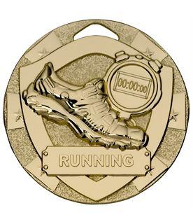 """Gold Mini Shield Running Medal 50mm (2"""")"""