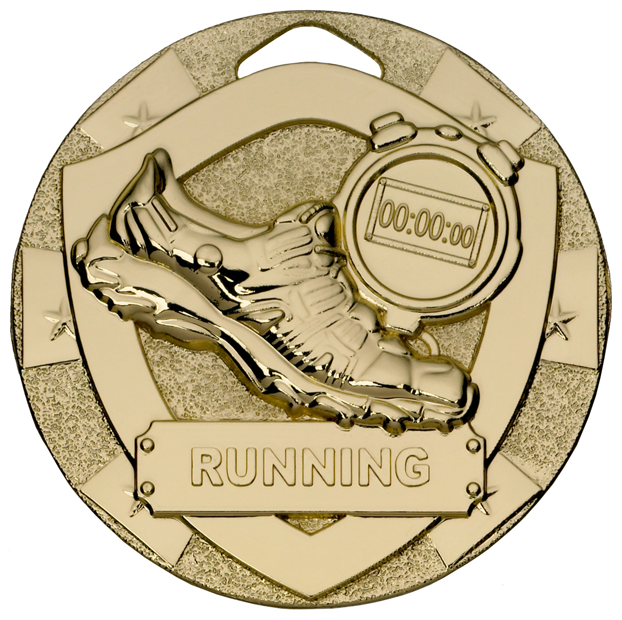 "Gold Mini Shield Running Medal 50mm (2"")"