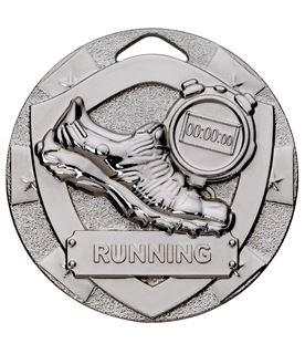 """Silver Mini Shield Running Medal 50mm (2"""")"""