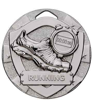 "Silver Mini Shield Running Medal 50mm (2"")"
