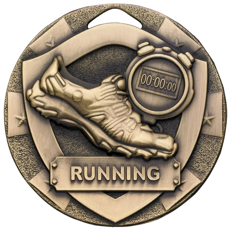 "Bronze Mini Shield Running Medal 50mm (2"")"