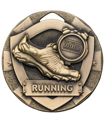 "Bronze Mini Shield Running Medal 50mm (2"")"