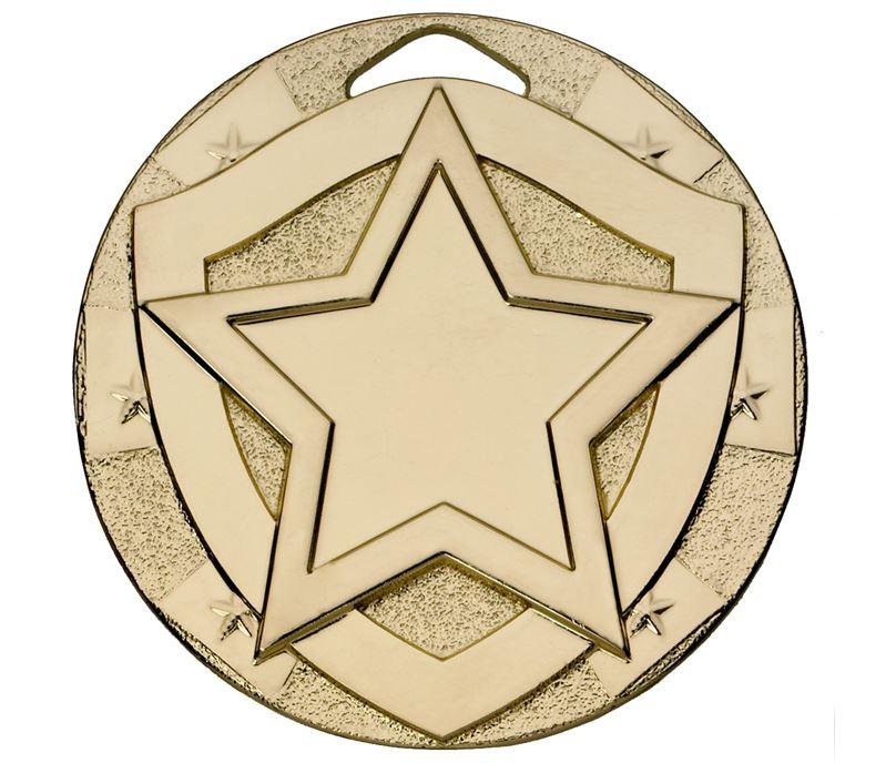 """Gold Mini Shield Star Medal 50mm (2"""")"""