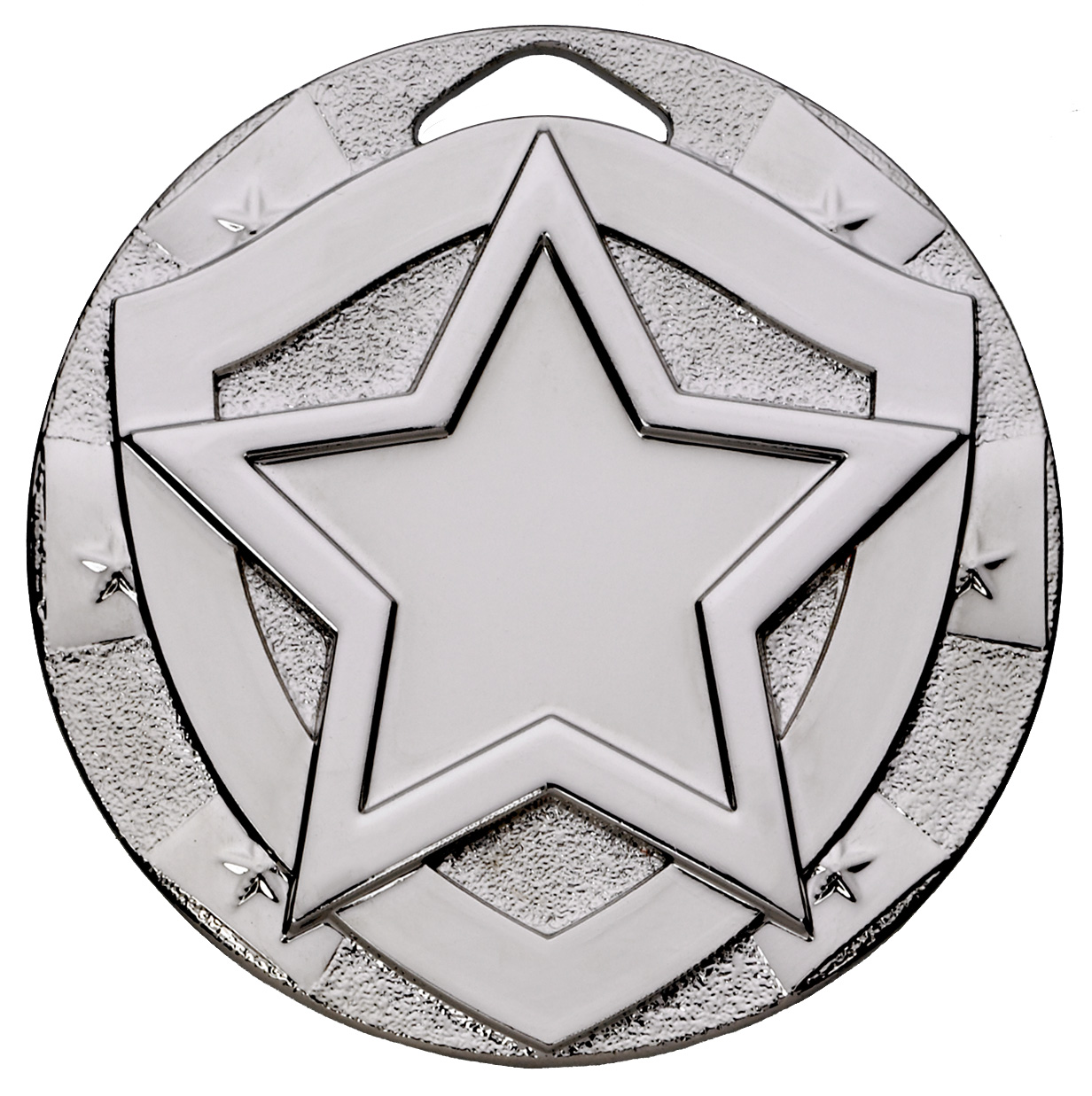 "Silver Mini Shield Star Medal 50mm (2"")"