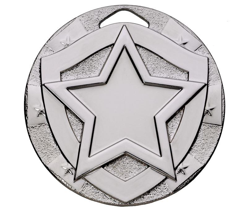 "Silver Mini Shield Star Medal 50mm (2"")"