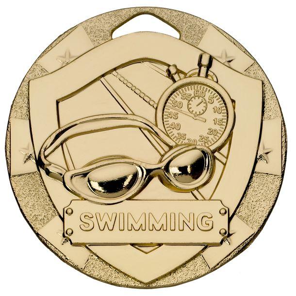 "Gold Mini Shield Swimming Medal 50mm (2"")"