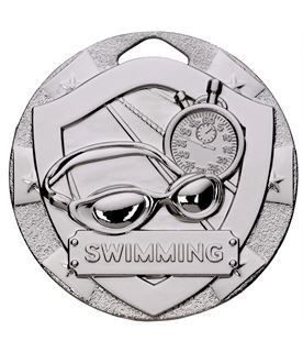 "Silver Mini Shield Swimming Medal 50mm (2"")"