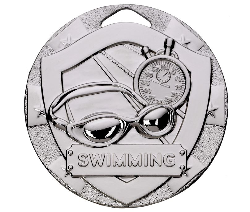 "Silver Mini Shield Swimming Medal 50mm (2"")"