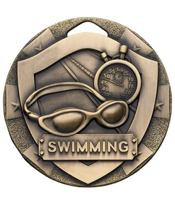 "Bronze Mini Shield Swimming Medal 50mm (2"")"