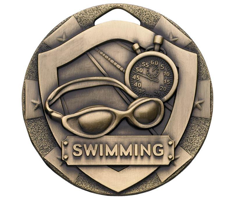 "Bronze Mini Shield Swimming Medal 50mm (2"")"