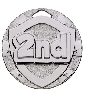 "Silver Mini Shield 2nd Medal 50mm (2"")"