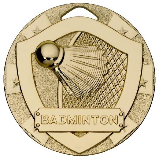 "Gold Mini Shield Badminton Medal 50mm (2"")"