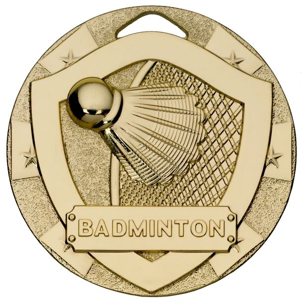 "Gold Mini Shield Badminton Medal 50mm (2"")"