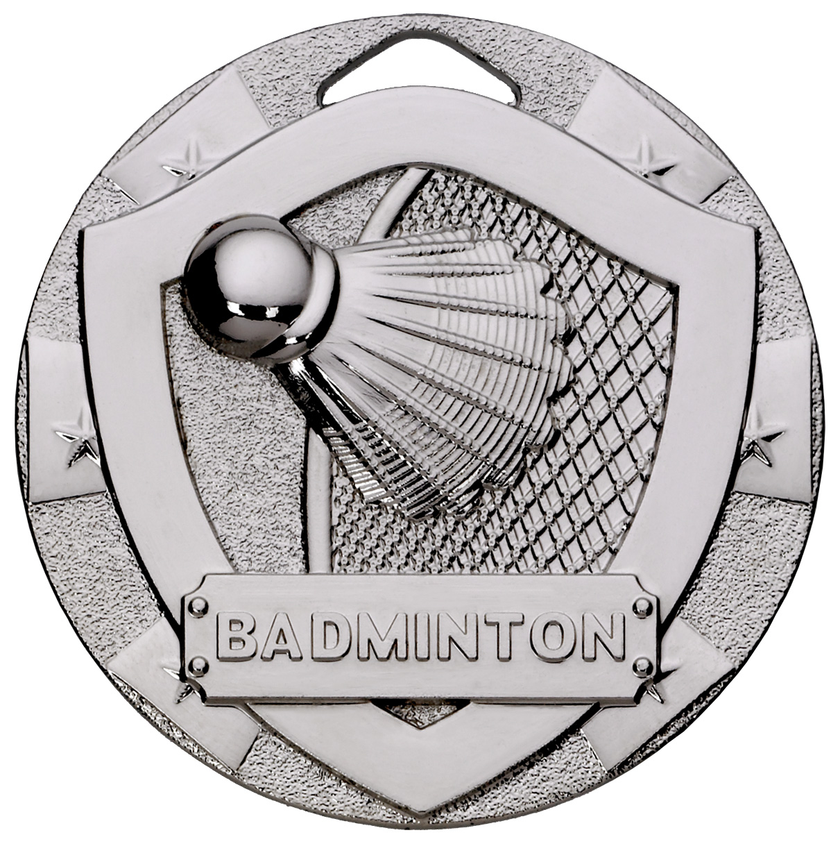 "Silver Mini Shield Badminton Medal 50mm (2"")"