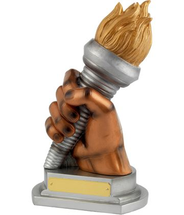 "Gold/Silver Resin Flaming Torch Achievement Trophy 23.5cm (9.25"")"