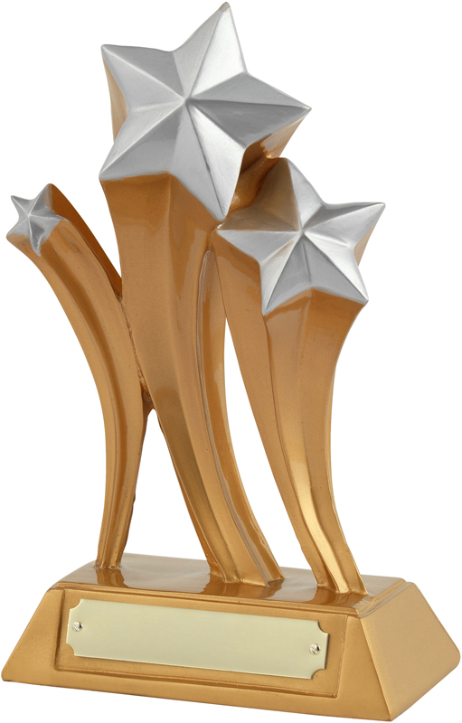 "Gold & Silver Resin Triple Shooting Star Trophy 19cm (7.5"")"