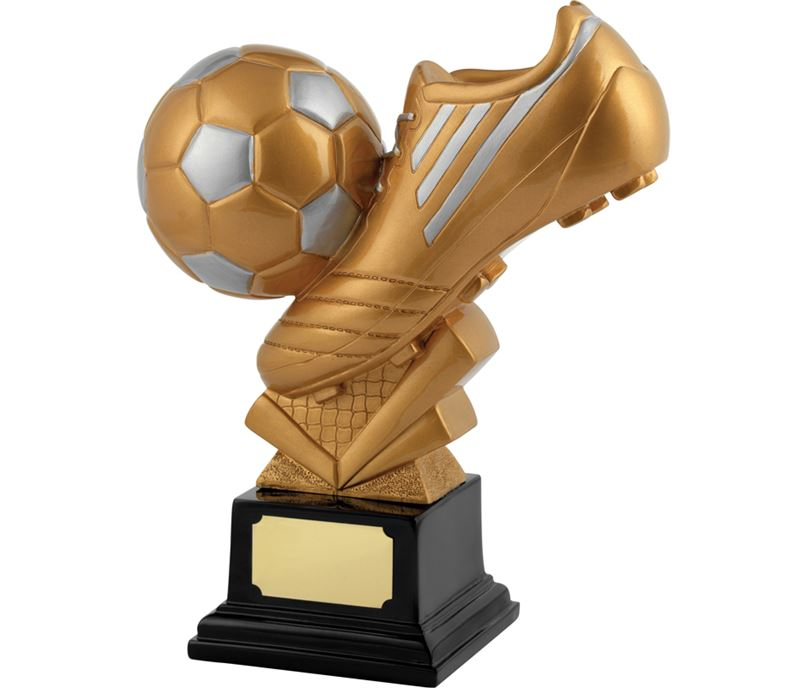 "Satin Gold Resin Football & Boot Trophy 25cm (9.75"")"