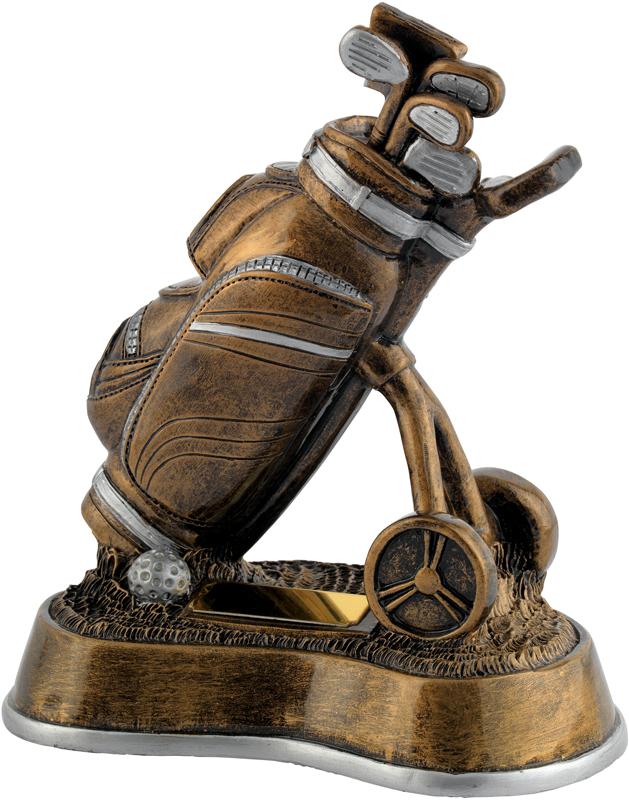 """Antique Gold Resin Golf Bag & Trolley Trophy 19cm (7.5"""")"""