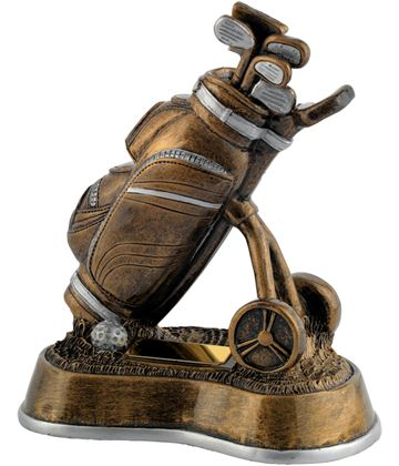 "Antique Gold Resin Golf Bag & Trolley Trophy 19cm (7.5"")"