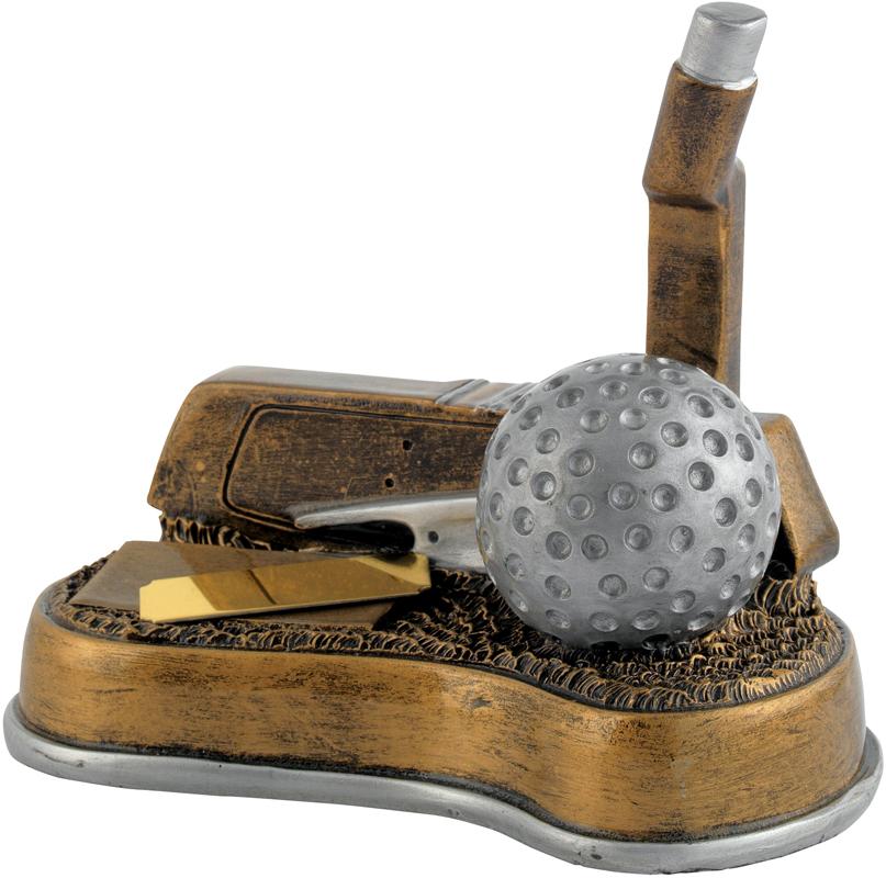 """Antique Gold Resin Golf Putter Trophy 12.5cm (5"""")"""