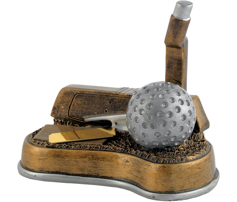 "Antique Gold Resin Golf Putter Trophy 12.5cm (5"")"