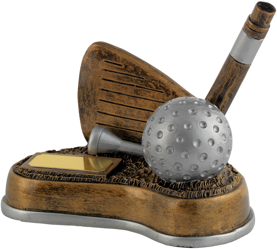 """Antique Gold Resin Nearest The Pin Golf Trophy 12cm (4.75"""")"""
