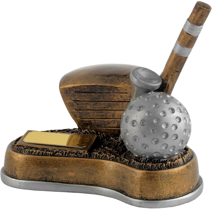 """Antique Gold Resin Longest Drive Golf Trophy 12.5cm (5"""")"""