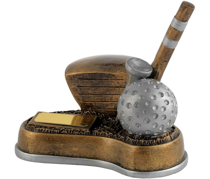 "Antique Gold Resin Longest Drive Golf Trophy 12.5cm (5"")"