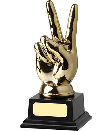 """Gold Finished Victory Trophy on Black Base 16cm (6.25"""")"""