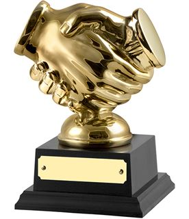 "Gold Finished Handshake Trophy on Black Base 14cm (5.5"")"