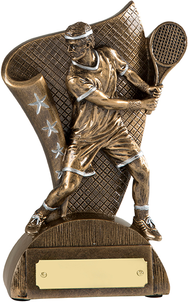 """Antique Gold Resin Male Tennis Player Trophy 16.5cm (6.5"""")"""