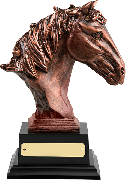 """Antique Bronze Finished Horse Head Equestrian Trophy 21cm (8.25"""")"""
