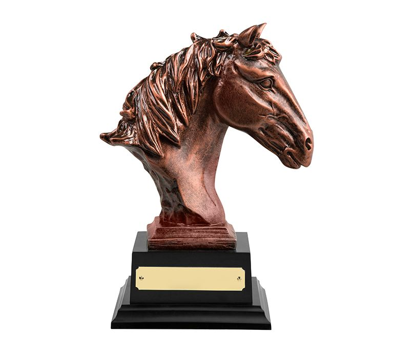 "Antique Bronze Finished Horse Head Equestrian Trophy 21cm (8.25"")"