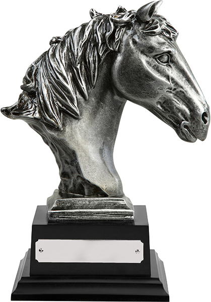 "Antique Silver Finished Horse Head Equestrian Trophy 21cm (8.25"")"