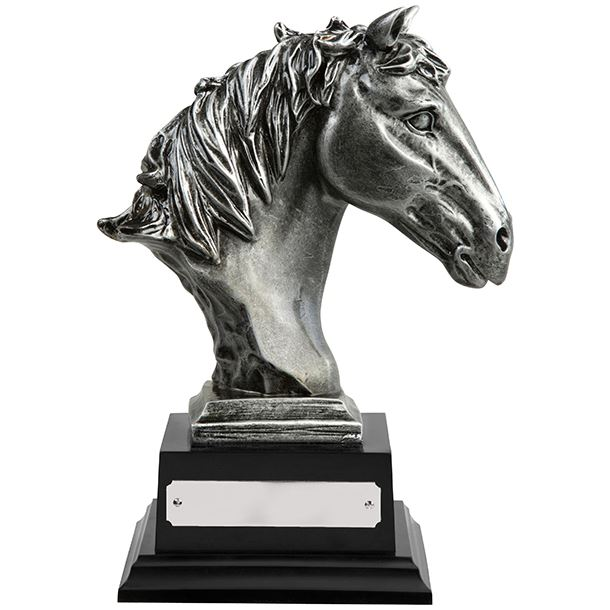 """Antique Silver Finished Horse Head Equestrian Trophy 21cm (8.25"""")"""